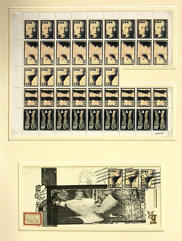 Michael Thompson Chicago artist, artistamps, Magritte painting, Magritte Stamp
