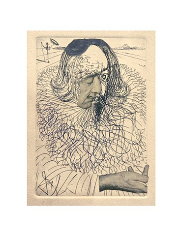 Dali etching, Cervantes, Michael Thompson Chicago artist, Dali