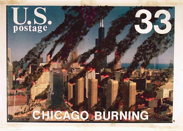 Chicago, burning, commemorative stamps, fake U.S. postal stamp