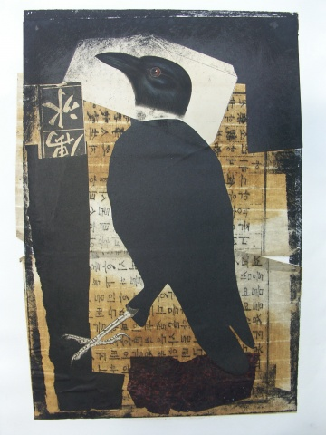 etching, collage