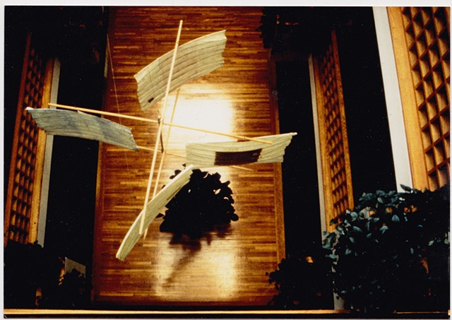 Michael Thompson Chicago artist, Kinetic kites, hanging kites, atrium sculptures