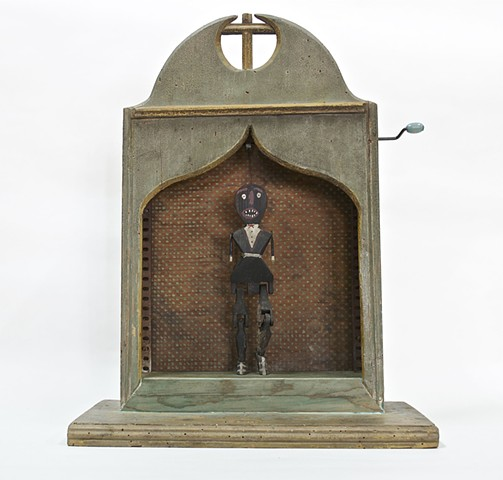 Michael Michael Thompson Chicago artist, assemblage, collage, found object sculpture, memory jug