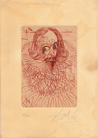 Dali etching, Cervantes, Michael Thompson Chicago artist, Signed Dali Print