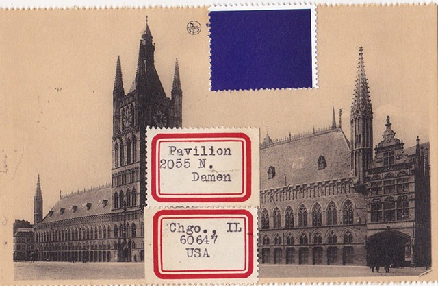 Michael Thompson Chicago artist, fake postage stamps, artiststamps, art stamps, Yves Klein Postage stamp