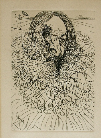 Dali etching, Michael Thompson artist, collage, Salvador Dali etching,