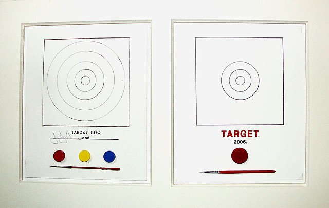 Jasper Johns Target 1970, Pop Art Parody, Ironic Artwork, Fluxus Art