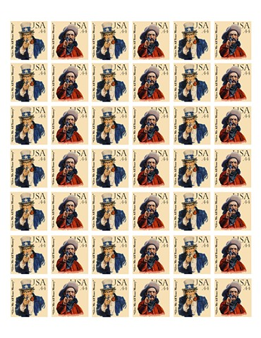 Michael Thompson Chicago Artist, artistamps, Fake Postage Stamp, Political Art, Illegal Art