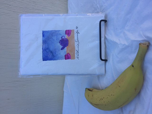 Watercolour blank card book w teapot