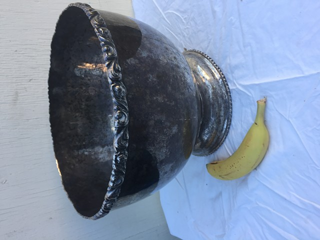 Vintage bowl, silver plated with carved rim. Diameter 13 inches, height 10 inches. Banana added to photo for size scale.