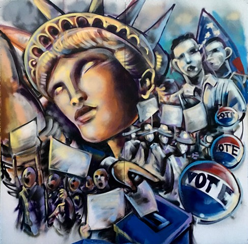 """VOTE""(Live painting for earlyvoting event 10/26/18"