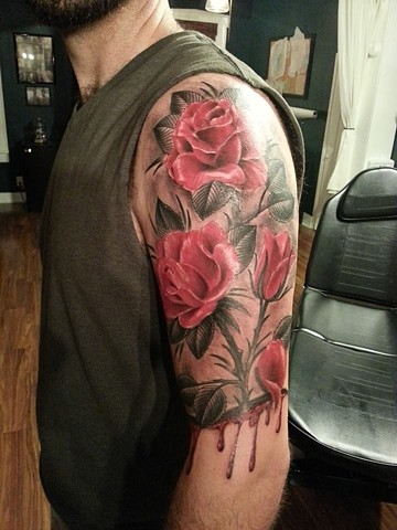 Black and Red  Rose design