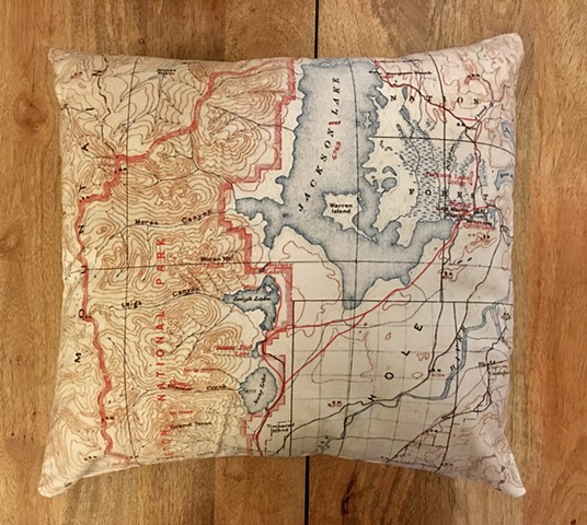 Historic 1911 Grand Teton Topo Pillow