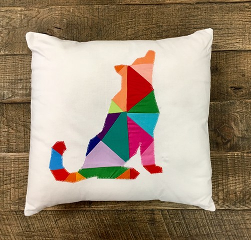 Quilted Wolf Applique Pillow