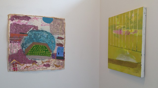 "Left to Right: Bifrost, handmade paper, 30""x32"", 2015; Balcony, oil on canvas, 28""x25"", 2014"