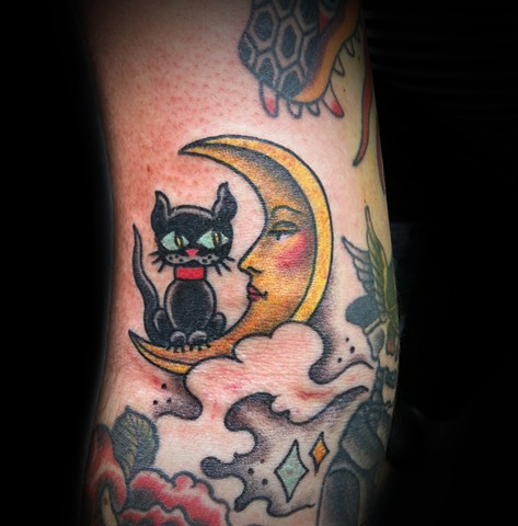 Tattoo By Jacek Minkowski Uglystyle ,Traditional, Tat, Ink, Tattoos, cat, moon