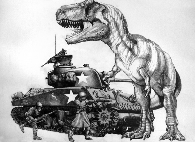 Sherman Tank Vs. T. rex