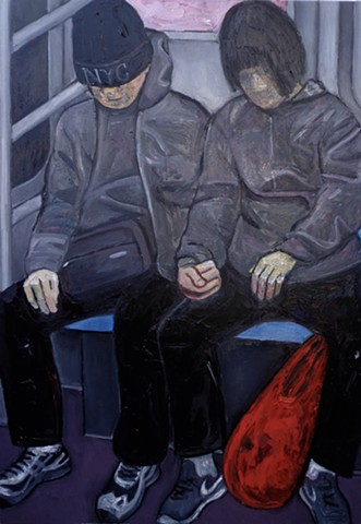 "This is a painting that was inspired by a very weary couple on the subway train. Their ""oneness"" was captivating."
