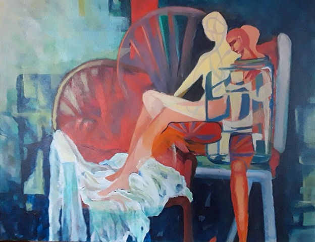 Woman and Red Chair