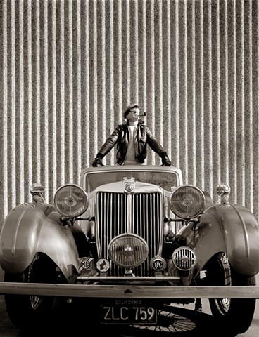 portrait of clarence weiss in vintage sedan
