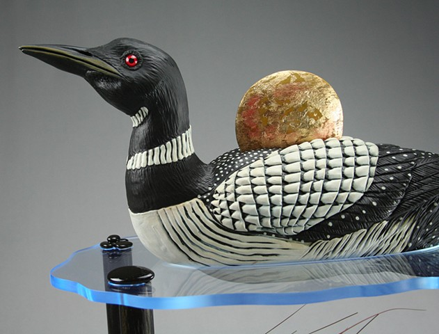 Loon at Sunset Detail
