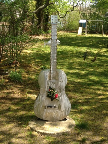 Tall Guitar Stainless Steel Planter | SOLD