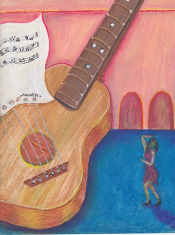 Guitar & Girl Oil Pastel | AVAILABLE