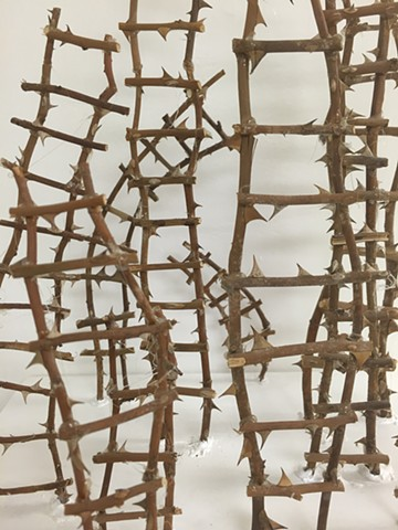 Sculpture, rose, stems, thorns, ladders,3D