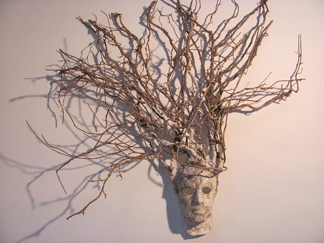 Assemblage, Mask, Roots, Dirt, Plaster Mold