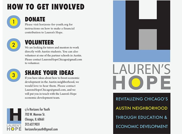 Front and Back Cover of Lauren's Hope Brochure