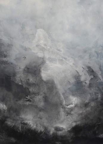 Abstract contemporary atmospheric airy ocean waves blacks and grays Acrylic on canvas by Margot Nimirosky