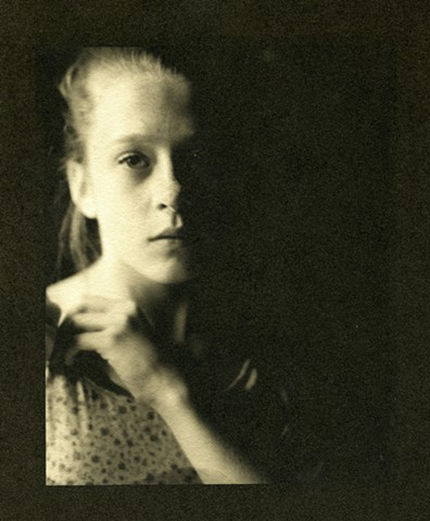 Portrait of a girl in fading light , Black and White Fine Art Photography Platinum Palladium print.