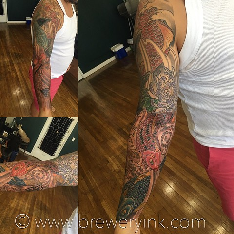japanes koi and water lower half sleeve extension