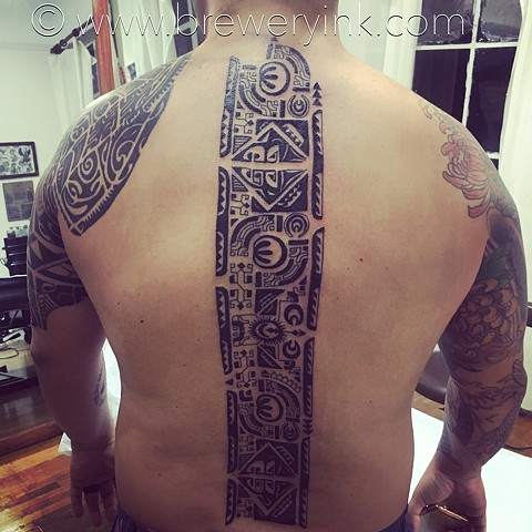 tim's polynesian back tattoo addition