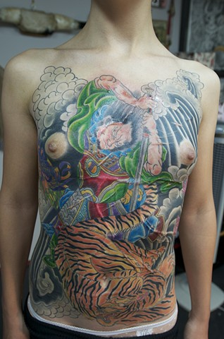 samurai tiger chest tattoo