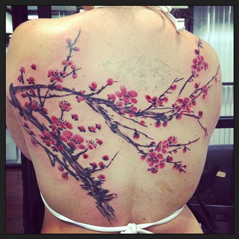 watercolor cherryblossom tattoo
