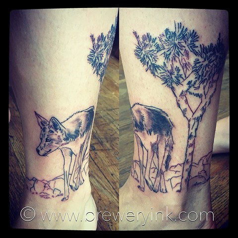 lone wolf and joshua tree tattoo