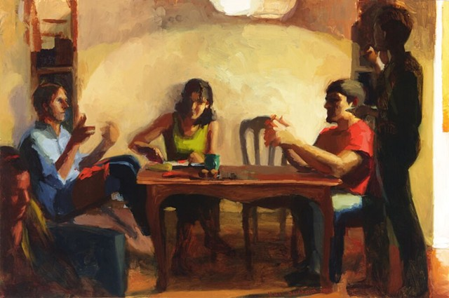 "Kari Dunham, ""The Table,"" figurative oil painting, multiple figures at table"