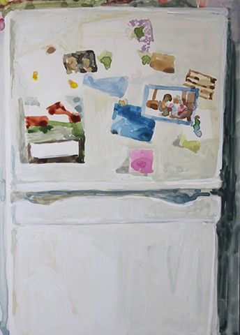 Kari Dunham, 40 Days Forty Sacraments, Day 5, gouache painting refrigerator