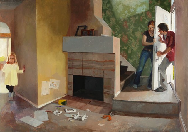 "Kari Dunham, ""Home is Not,"" figurative oil painting, figures in interior"
