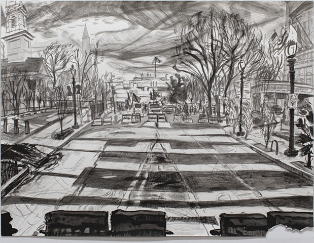 Elizabeth Flood Washington DC Drawing, battlegrounds