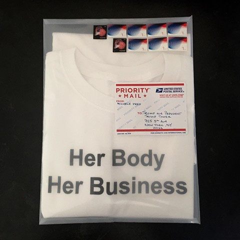 Her Body Her Business T-shirts sent to Presidential Candidates on the 43rd anniversary of Roe V Wade