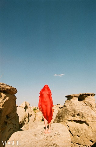 Red ghost on the written stone