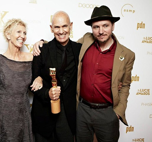 Me with Joel Meyerowitz and Maggie Barrett at the Lucies