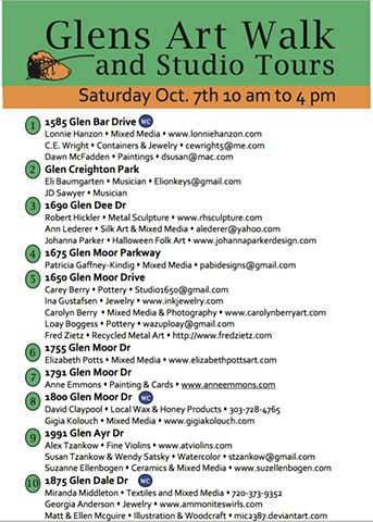 Glens Art Walk Oct 7, 2017