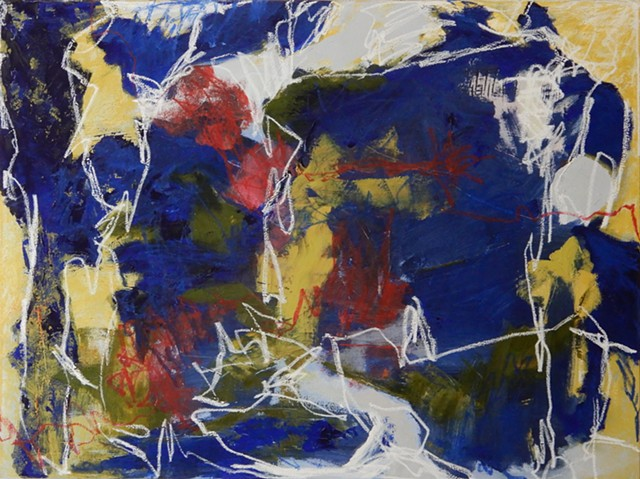 Blue Dimension, 2019, oil and oil stick on canvas, 30 x 40 inches juried selection by Wayne Gilbert for the 12th Annual Juried Art Exhibition at Archway Gallery)