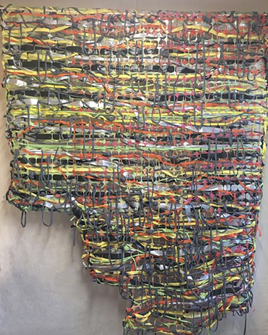 color, #Colorlove, #painting, #hollyholmes #hollyholme #compoundyellow, #studio, #ott, #spraypaint, weaving,