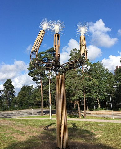 Nacka Sweden, wallstreet sculpture videokaffe joshua tree wood metal interactive speaking to tree