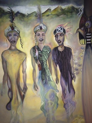 Wodaabe tribe, Niger men dance, oil on canvas