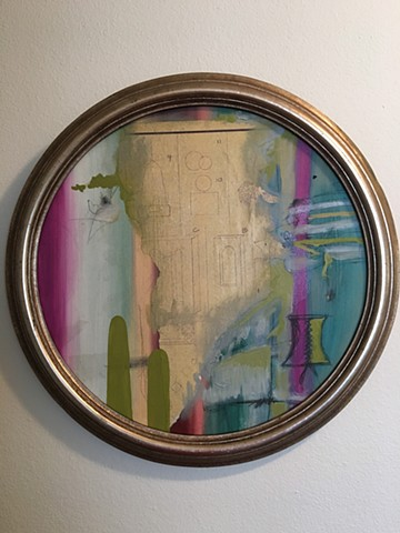 oil painting, circle painting, mixed media, blueprint art, abstract, silver frame