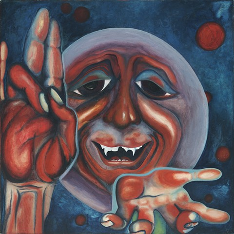 art, affordable artwork, art for sale, oil painting, oil on canvas, king crimson, classic rock painting, man in the moon